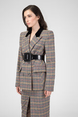 Beige pattern wool jacket
