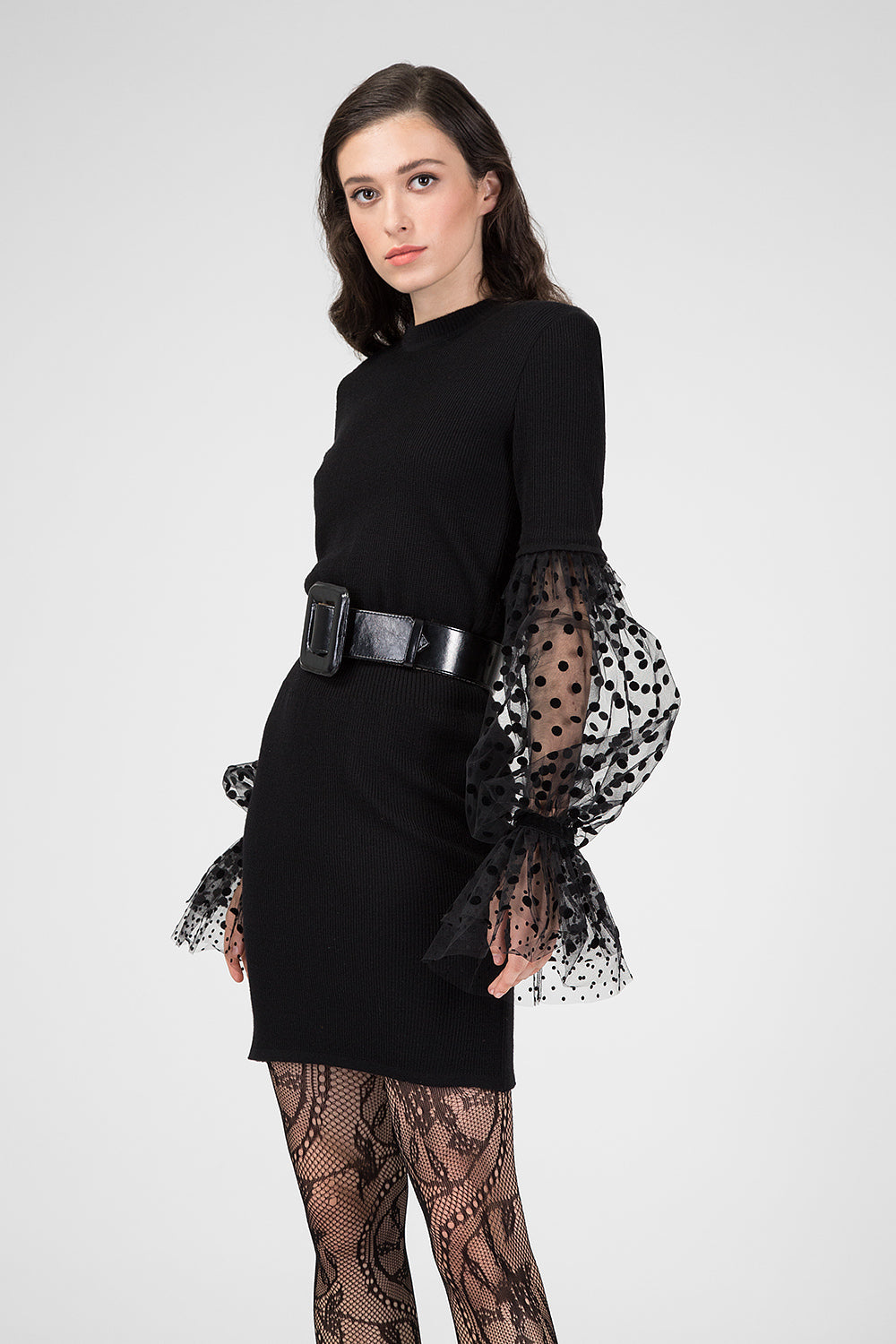 Black jersey dress with bishop sleeve