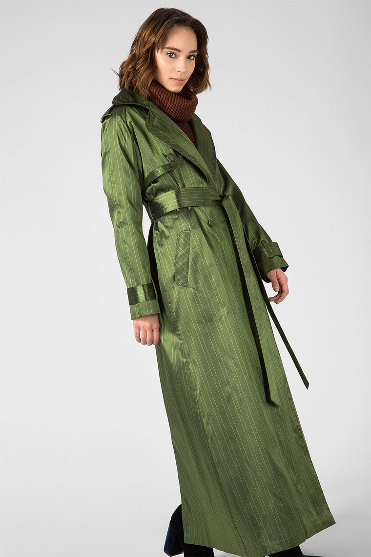 Green striped trench