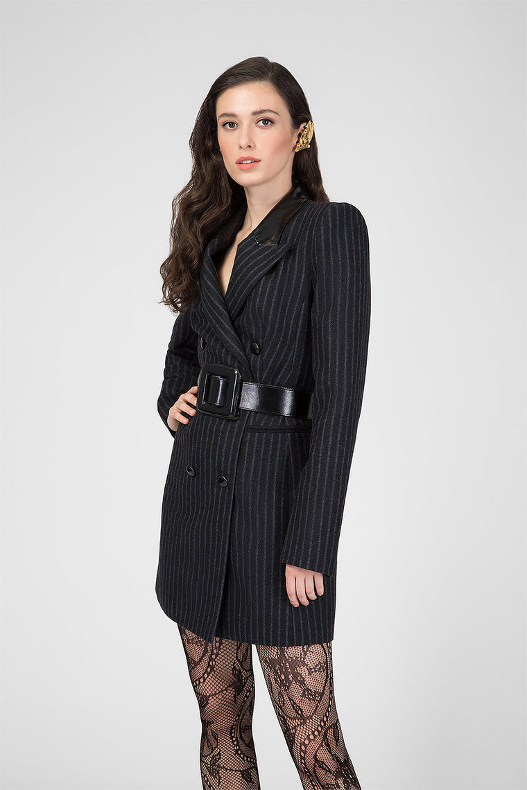 Black wool dress-jacket