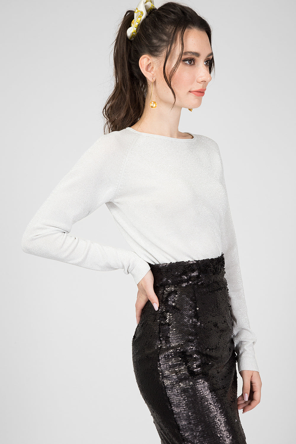 White Lurex Sweater