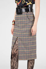 White pattern wool skirt