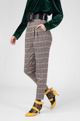 Beige checked wool trousers