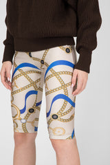 Beige Printed Cycling Shorts