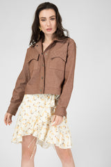 Brown denim quilted jacket