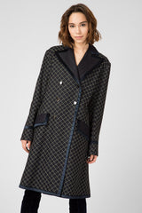 Dark blue quilted denim trench