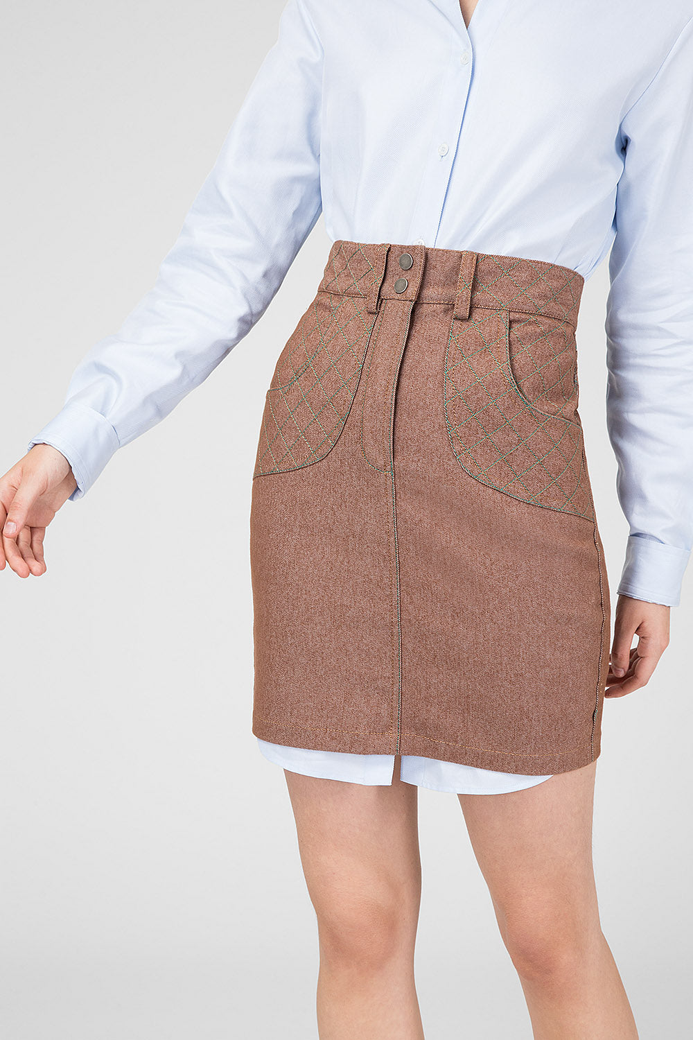 Brown denim skirt-mini