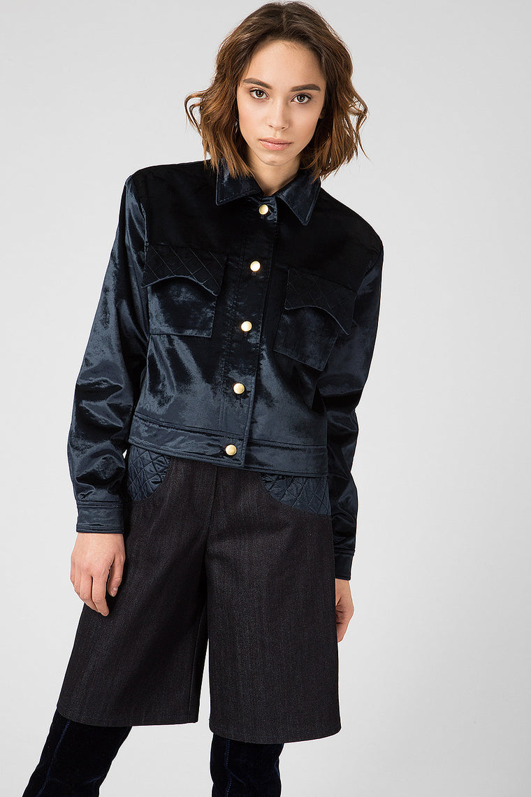 Dark blue velvet jacket