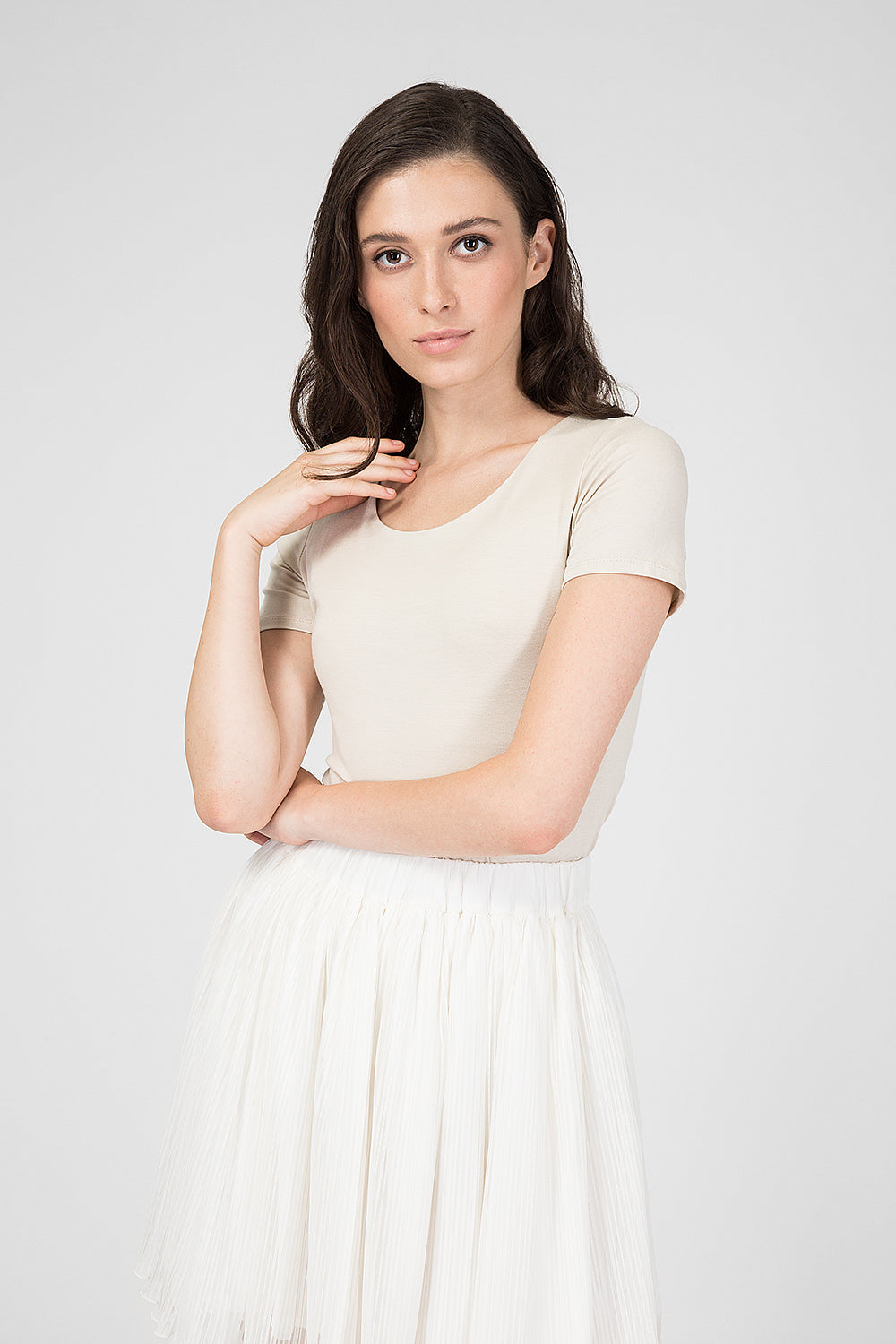 Beige top with short sleeves
