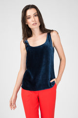 Dark blue velvet top