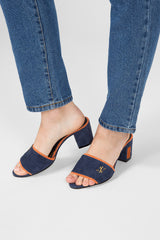 Dark blue suede mules