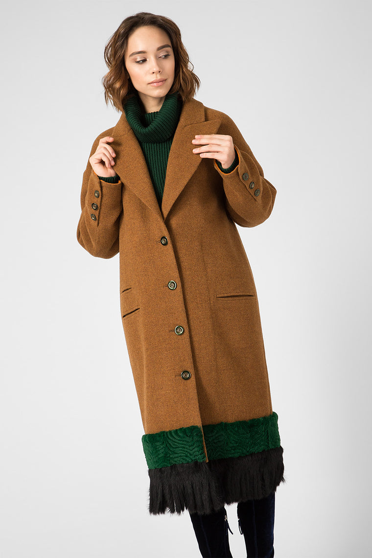 Brown wool coat with fur