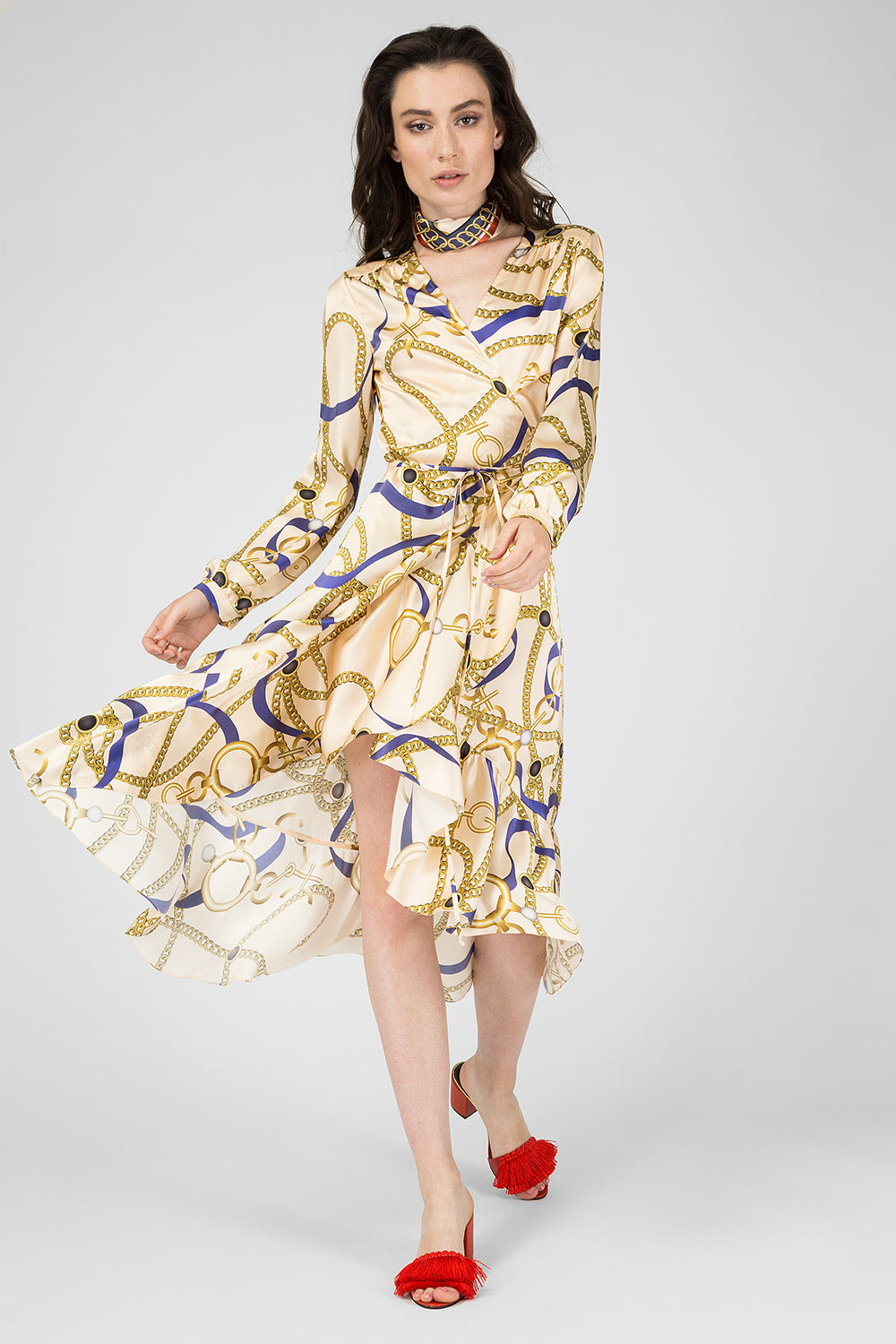 Beige silk printed dress