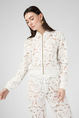 White lace bomber jacket