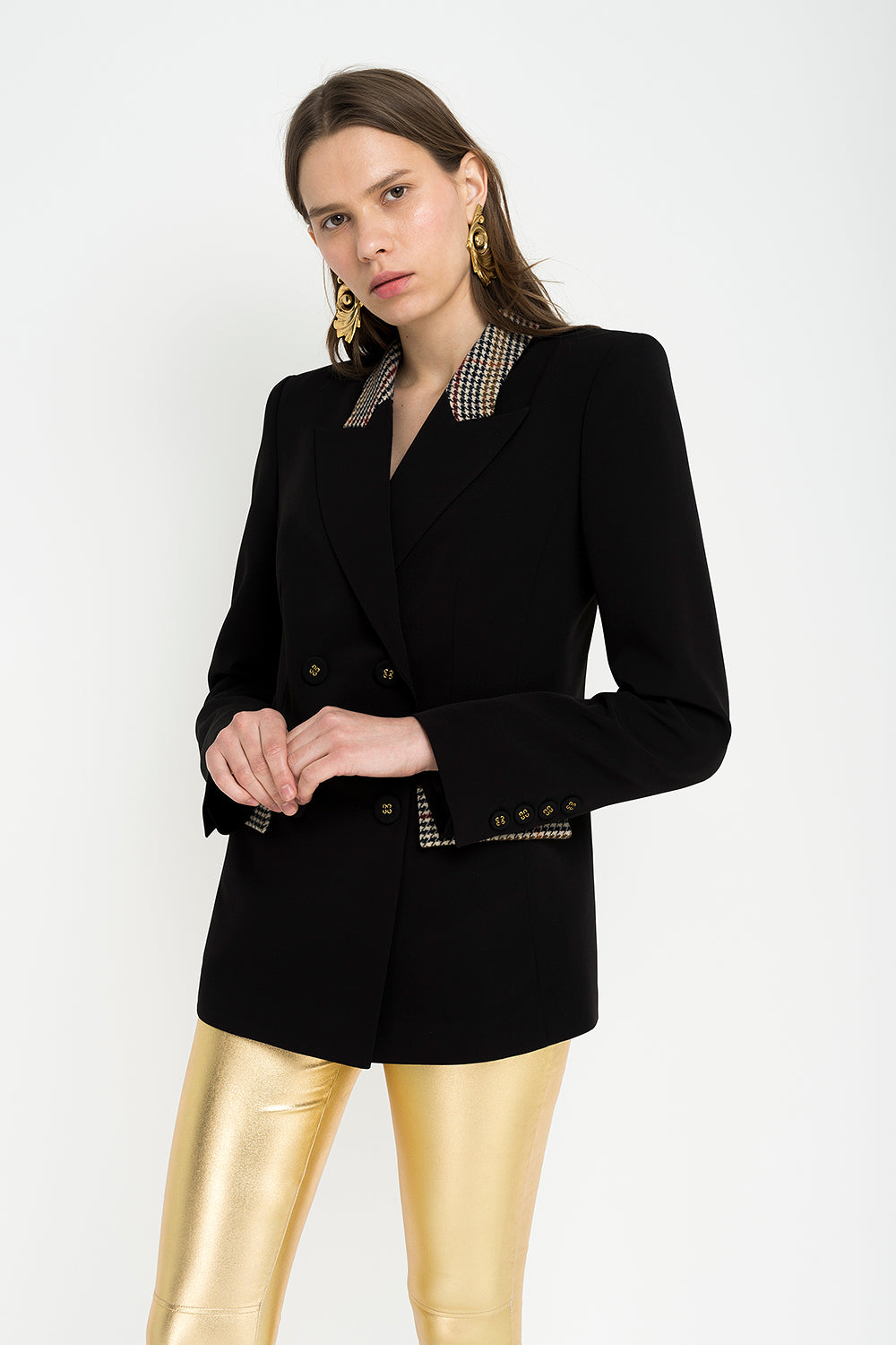 Black jacket with wool inserts