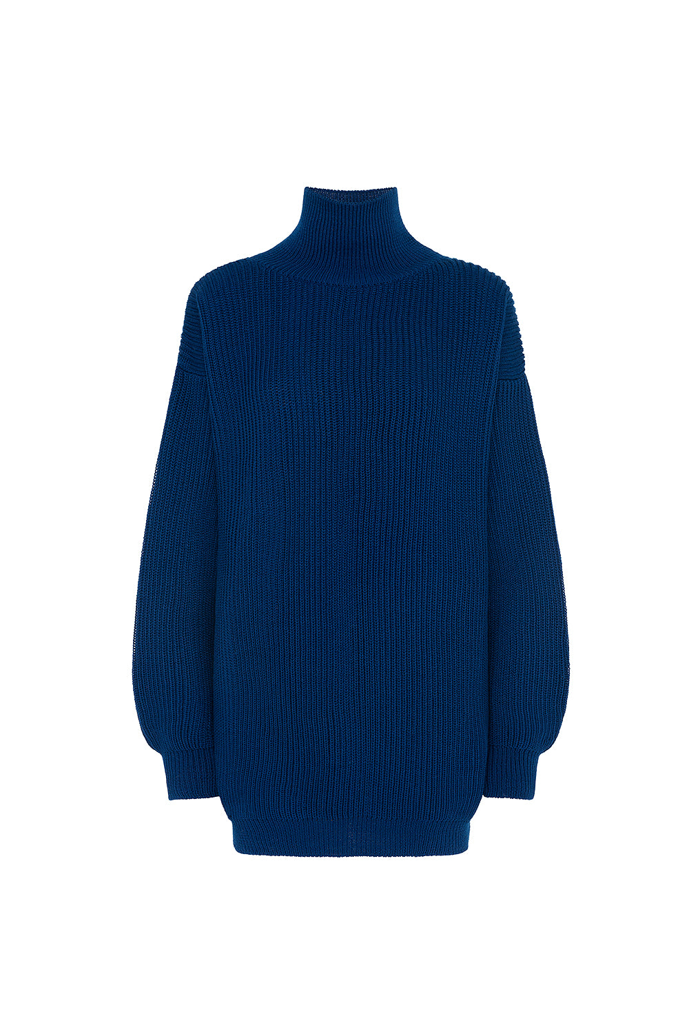 Blue electrician knitted long sweater