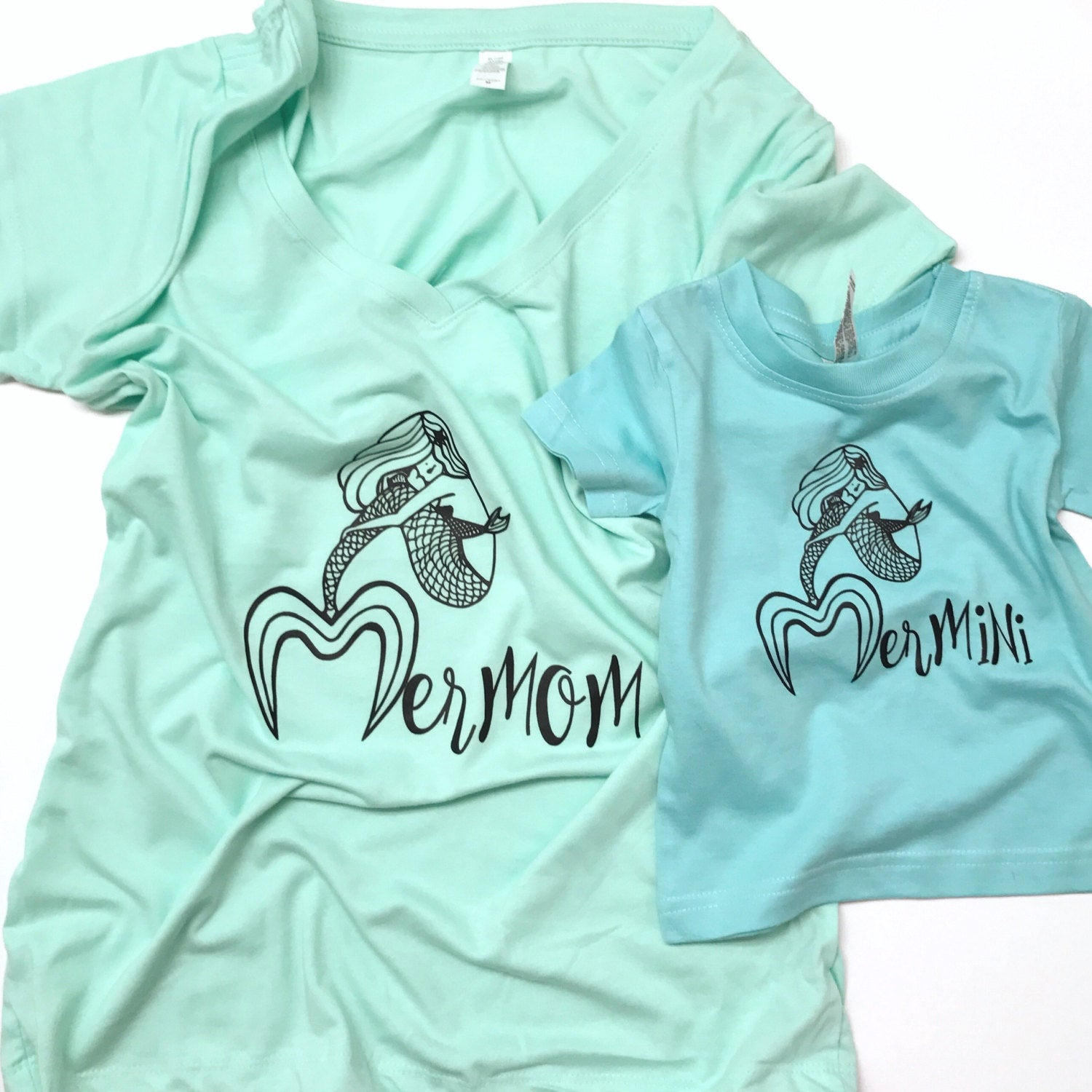 Mermaid matching mommy and me shirt SET