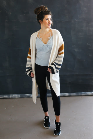 Layla Striped Cardigan - boutique fashion - The Girls In Grey