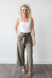 Rachel Tie Waist Pant - boutique fashion - The Girls In Grey