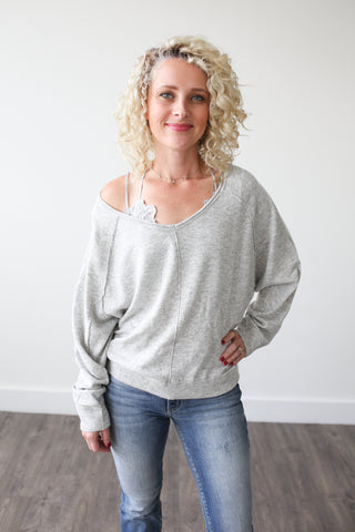 Whitney V-Neck Sweater - boutique fashion - The Girls In Grey
