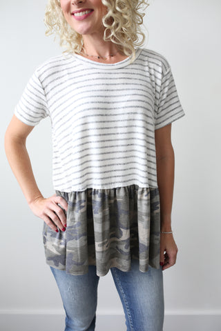 Andi Camo Striped Top - boutique fashion - The Girls In Grey