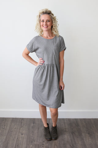 Olivia Striped Babydoll Dress - boutique fashion - The Girls In Grey
