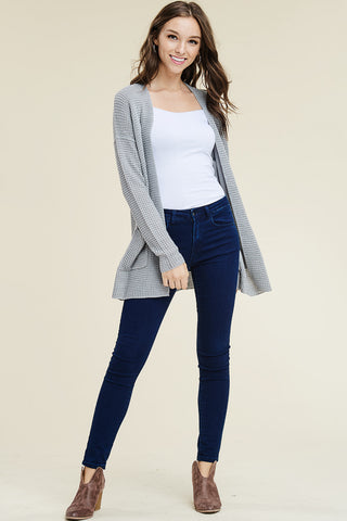Laurel Waffle Cardigan - boutique fashion - The Girls In Grey
