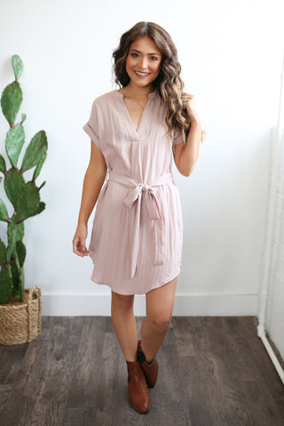 Belted dot trim v-neck tunic dress.