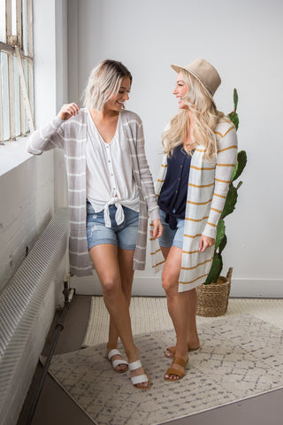 Maybeth Striped Long Cardigan - boutique fashion - The Girls In Grey