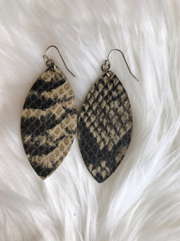 Snake skin tear drop leather earrings - boutique fashion - The Girls In Grey