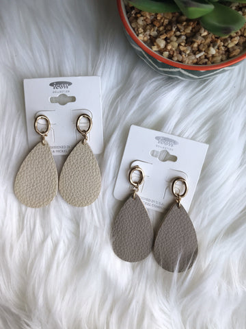 Leather tear drop earrings - boutique fashion - The Girls In Grey