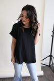 Kira Rolled Sleeve Top Black