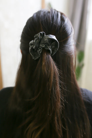 Pewter Faux Leather Scrunchie