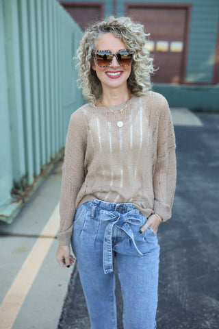 Allison Open Knit Sweater Taupe