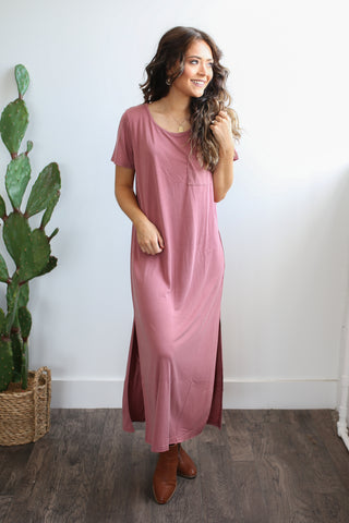Marsala short sleeve round neck maxi dress with side slits and chest pocket.