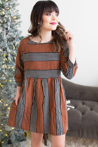 Leah Striped Dress - boutique fashion - The Girls In Grey