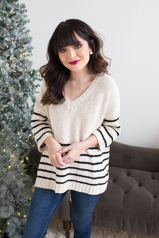 Madeline Striped Sweater - boutique fashion - The Girls In Grey