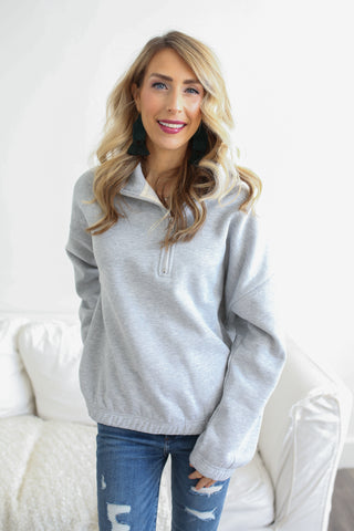 Caroline Fleece Pullover Grey