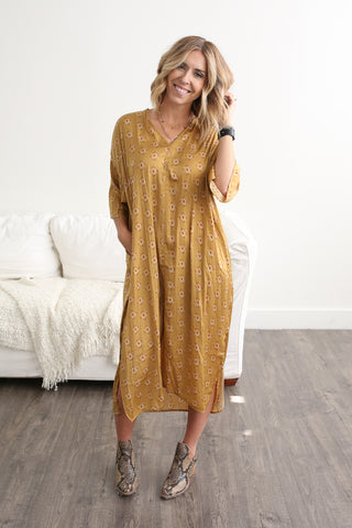 Blakely Satin Dress Gold