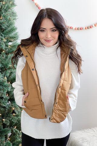 Stephanie Puffy Vest Carmel