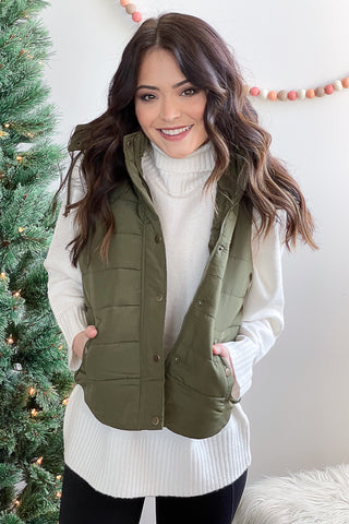 Stephanie Puffy Vest Olive