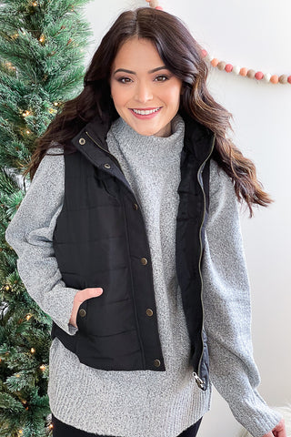 Stephanie Puffy Vest Black
