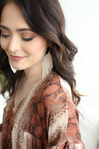 Fallon Feather Earrings Cream