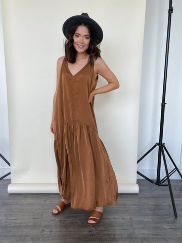 Josie Satin Maxi Copper