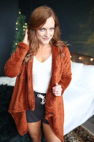 Alyssa Teddy Cardigan Brick