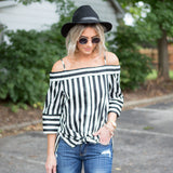 Steph Striped off the shoulder button down 3/4 sleeve top - boutique fashion - The Girls In Grey