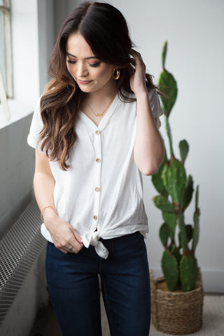 Allie Tie Front Shirt - boutique fashion - The Girls In Grey