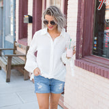 Odile White button up top - boutique fashion - The Girls In Grey
