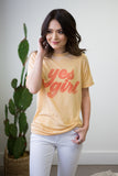 Yes Girl Acid Wash Tee - boutique fashion - The Girls In Grey