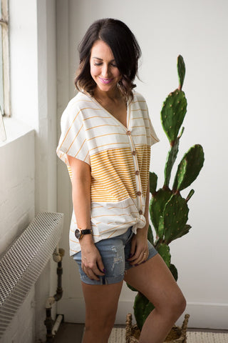 Millie Button Up Striped Top - boutique fashion - The Girls In Grey